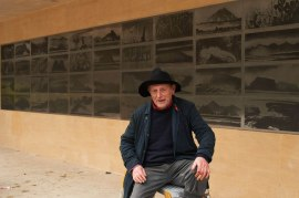Norman Ackroyd in front of Galapagos photo by Nigel Luckhurst