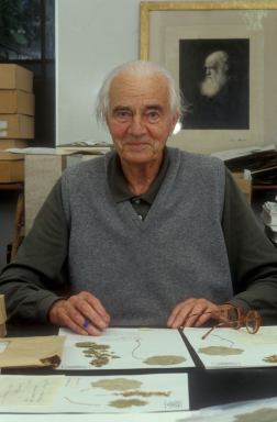 Max Walters with Herbarium sheets